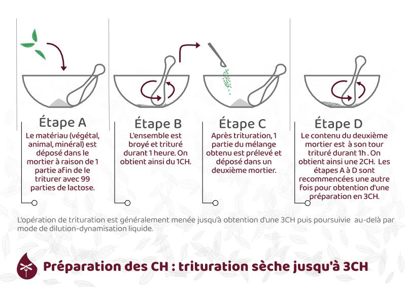 Préparation des CH par trituration jusqu'à 3C